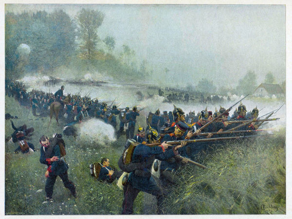 BATTLE OF KONIGGRATZ (also known as Sadowa) Prussian infantry in action against the Austrians