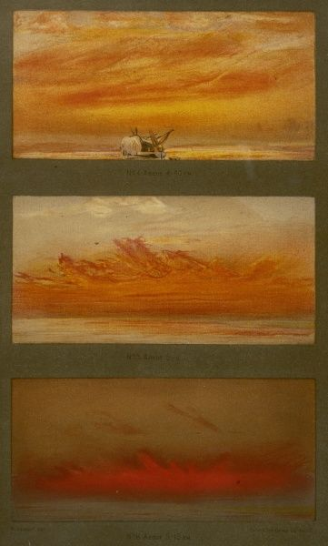 Three months after the major eruption, the atmosphere worldwide is affected : three views at sunset, made at 4.40, 5 and 5.15 PM show the effect of volcanic dust
