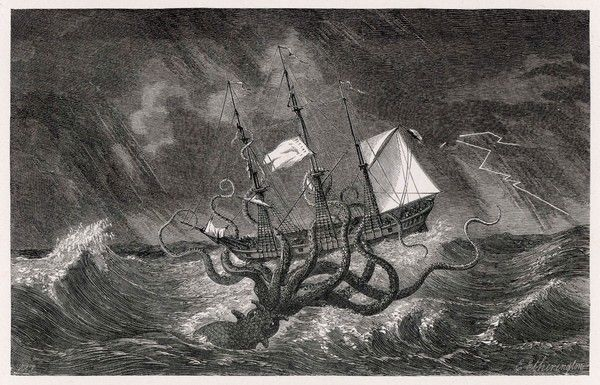 A mythical Kraken attacking a sailing vessel during a storm