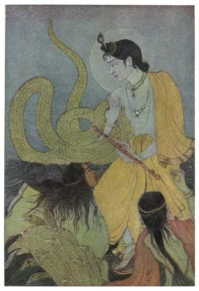Krishna defeats the 5 headed serpent Kaliya who had poisoned the Yamuna river. Kaliya's wives worship Krishna & plead for their husdand who is spared & sent away