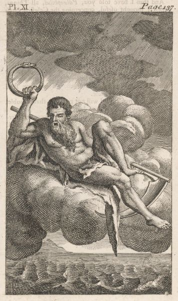 Kronos floats above the Earth, holding a uroborus