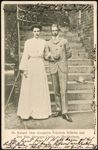 KRONPRINZ WILHELM Son of Kaiser Wilhelm II with his fiancee Cecilie - they married in 1905