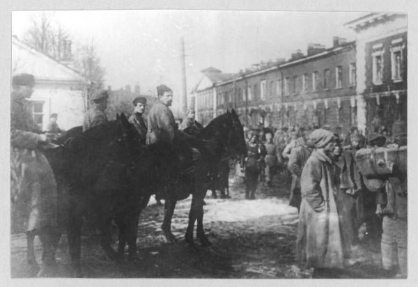Dybenko (on horse back, centre) commander of the troops ending the Kronstadt Rebellion