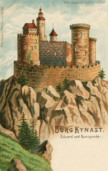 A 'hold-to-light' card - showing an artists impression of Kynast Castle (Chojnik), a castle located above the village of Sobieszow, today part of Jelenia Gora in southwestern Poland. The ruins of Chojnik are tied to the myth of Kunigunde
