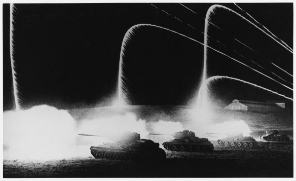 During the decisive battle of Kursk, signal flares light a Soviet night attack