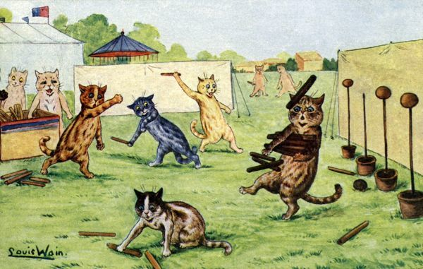 The Coconut Shy. Artist: Louis Wain. Happy cats having fun shying at coconuts as their brave companions recover the ammunition Date: 1904