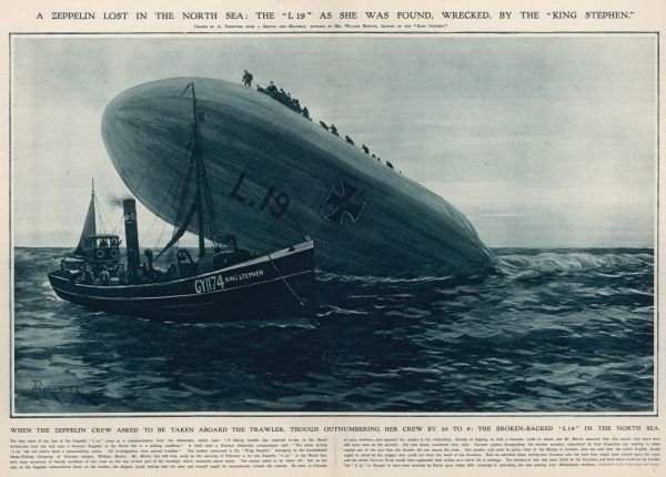 "Impression of the German Zeppelin L-19 with its crew perched on top seeking help from the crew of the fishing trawler, ""King Stephen"" who refused to give it and left"