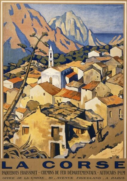 Travel poster advertising the island of Corsica and depicting a hilltop village