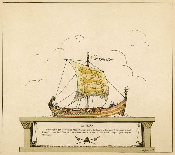 This is the vessel which carried William the Conqueror to England : it can be sailed or rowed, or both