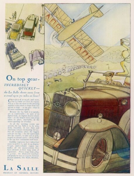 An advertisement for La Salle sports cars, showing a driver passing an airfield