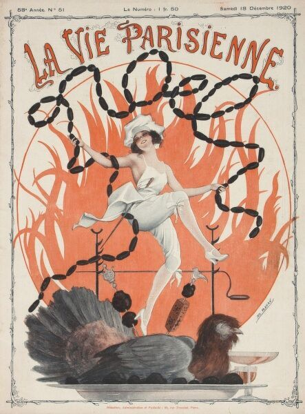 A scantily clad young lady frolics on the front cover of a festive La Vie Parisienne while a turkey looks less than impressed that he's about to be the focal point of dinner
