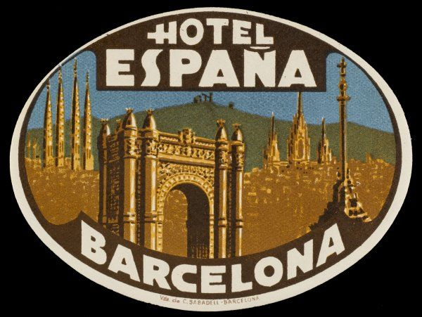 Label from the HOTEL ESPANA, BARCELONA, Spain