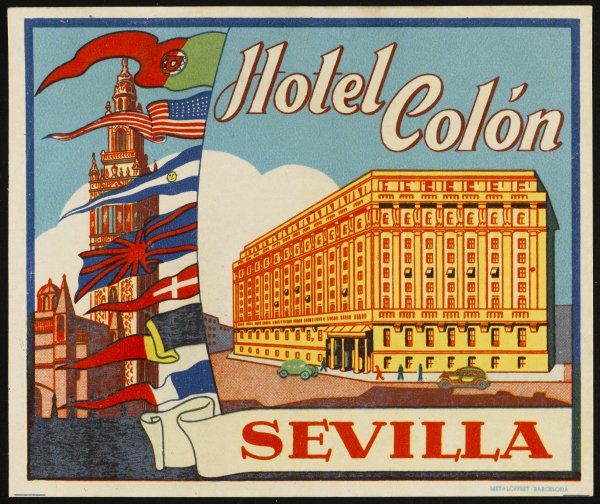 Label from the Hotel Colon, Sevilla, Spain
