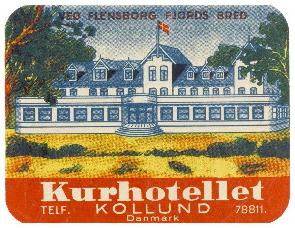 Label for the KURHOTELLET - spa hotel - at KOLLUND, in the Flensborg Fjord, Denmark