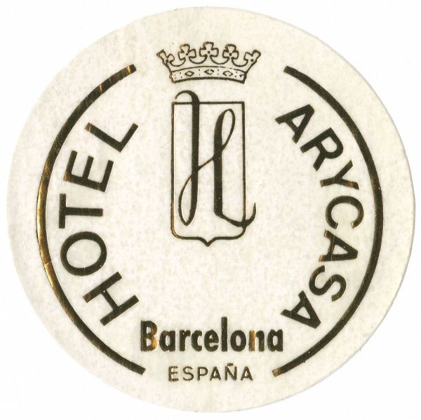Luggage label from the Hotel Arycasa, Barcelona, Catalonia, Spain. Date: 20th century