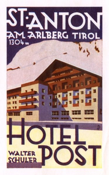 Luggage label from the Hotel Post, St Anton am Arlberg, Tyrol, Austria. Date: 20th century