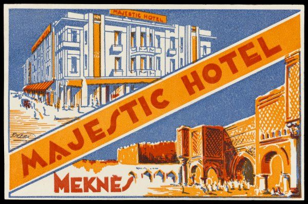 Label of the MAJESTIC HOTEL, MEKNES, Morocco