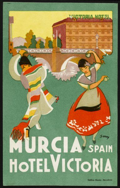 Label from the HOTEL VICTORIA, MURCIA (Spain) features Spanish dancers