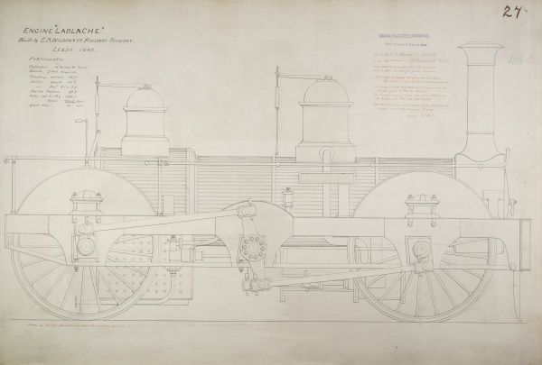 Lablanche, constructed drawing of a locomotive passenger engine, side elevation Date: 1897