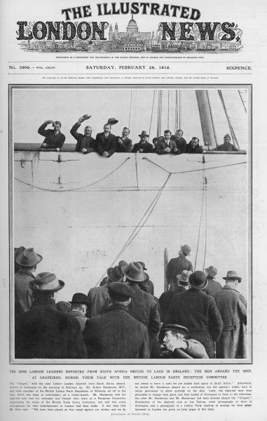 Nine Labour Leaders deported from South Africa arrive at Gravesend on board the Umgeni. Their leader, James Bain receives a hero's welcome from British Trade Unionists