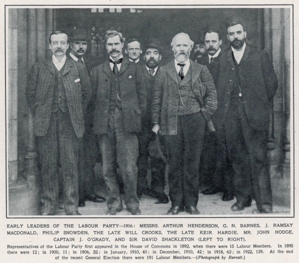 Photograph showing early members of Labour Party. The first Labour government was formed in January 1924 by J.Ramsay Macdonald (1866-1937 and shown here in the front row, second from left). To the right of him is James Keir Hardie (1856-1915)