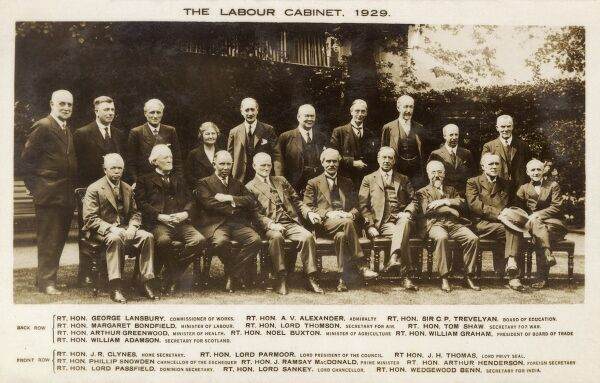 The Labour Party Cabinet under Prime Minister Ramsay MacDonald Date: 1929