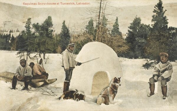 Eskimo snow-house at Turnavick, Labrador. A small shelter is prepared for the team of husky dogs