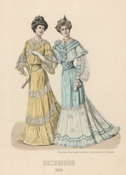 Two ladies in decorative dresses, one yellow with lace flounces on the sleeves, one blue with cape-like collar