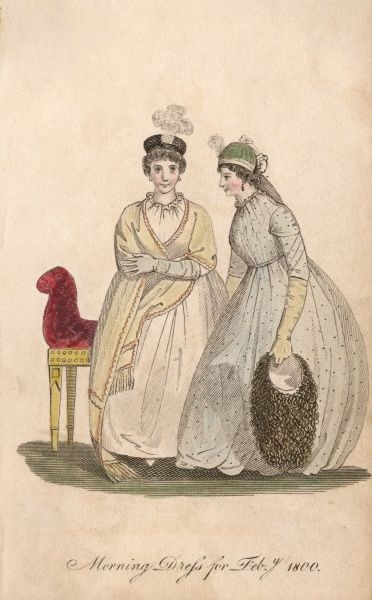 Two ladies in morning dress ; both wear round gowns caught at the neck, one carries a capacious bag - too big for a handbag, so perhaps it's her knitting or sketch materials Date: February 1800