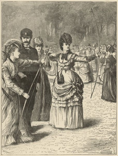 A lady prepares her bow and arrow at an archery match in the Royal Toxophilite Society's Grounds in Regent's Park, London