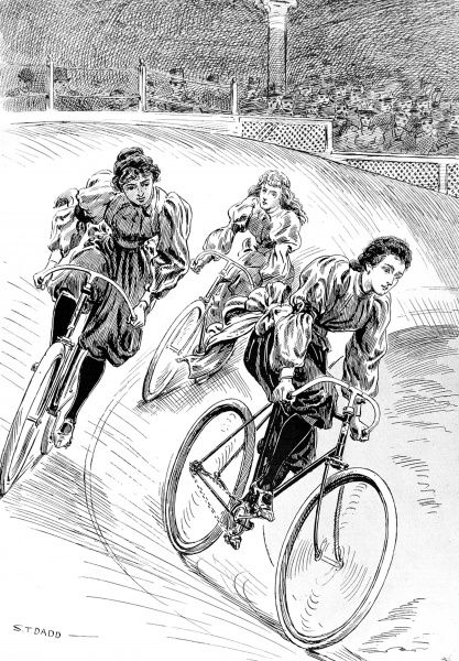Illustration showing the Ladies Mile Bicycle Race, held at Olympia, January 1896