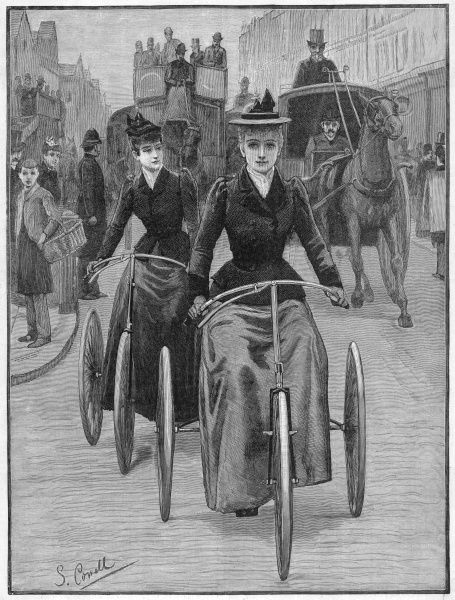 Victorian women out for a cycle on their tricycles