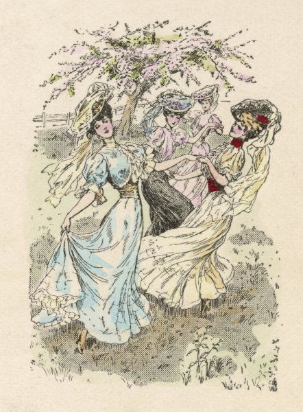 Some ladies, though in elegant dresses and smart shoes, dance in a field, full of the Joys of Spring - and possibly one glass of champagne too many