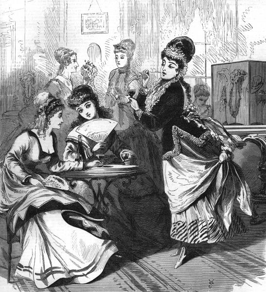 Ladies drinking at a fashionable milliner's establishment in London. Date: 1871