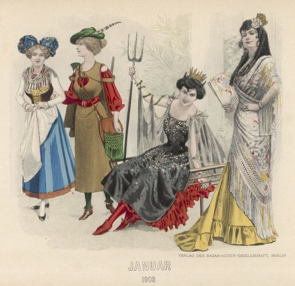 Ladies in fancy dress: a milkmaid, Bavarian costume, a demon with a pitchfork and a Spanish senorita