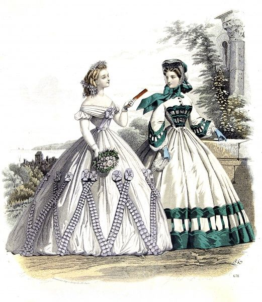 A hand tinted fashion illustration showing ladies spring fashions and accessories