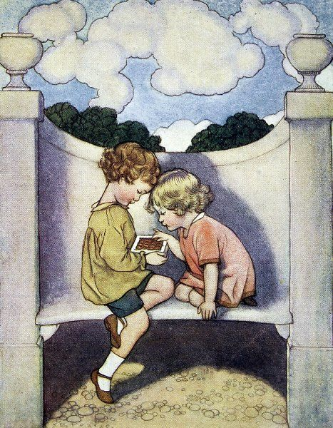 Illustration by Susan Beatrice Pearse showing an outdoor garden scene of a young boy offering a chocolate to a little girl. Susan Pearse was a regular contributor to the Sphere and other ILN titles. Her illustrations in childrens' books and on posters