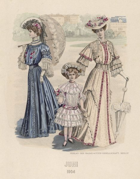 Elegant ladies, one in blue gown and with parasol, the other in polka dot dress with bolero style bodice, accompany a small girl in a pink lace dress with sash
