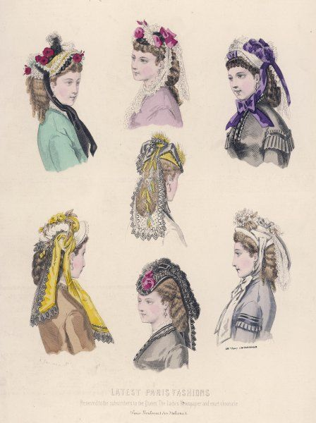 Seletion of fashionable bonnets from 1871
