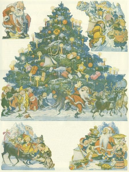 Christmas illustration for the Ladies Home Journal, with a large decorated tree at the centre, and smaller scenes in the four corners