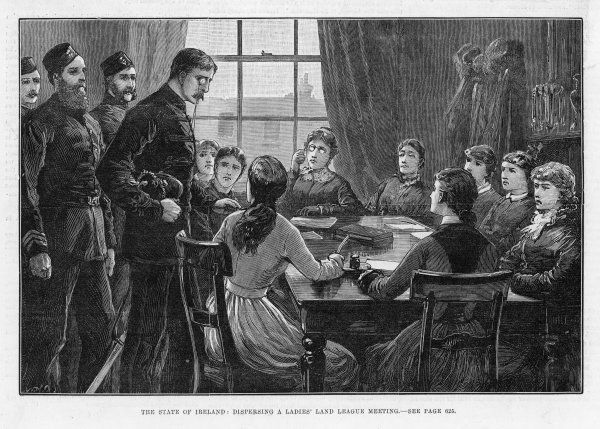Dispersing a Ladies' Land League meeting. The league was formed in 1881 by Anna Parnell and favoured reduced rents and resistance to the evictions