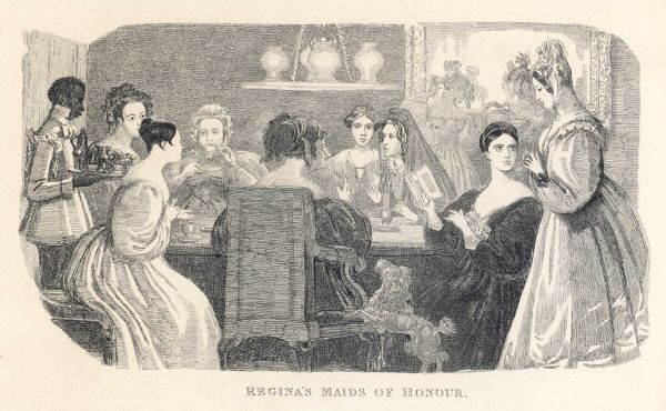 A black servant boy serves coffee to a ladies' literary gathering