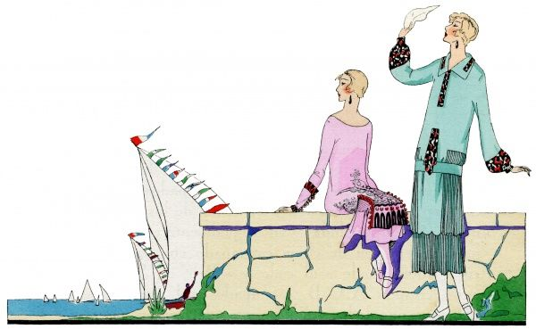 Two fashionable young ladies wearing the latest autumn outfits, watching sailing boats go by. On the left, a dress in pink crepe with patterned trimmings. On the right, a three-piece in pale green crepe de chine with pleating and patterned trimmings