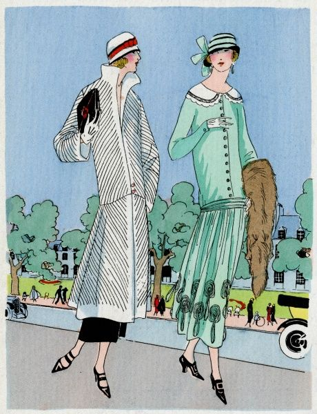 Two fashionable ladies wearing outfits by Jeanne Lanvin. On the left, a white coat with diagonal black stitched stripes. On the right, a Moroccan almond green dress with decorative collar and tassels to bottom