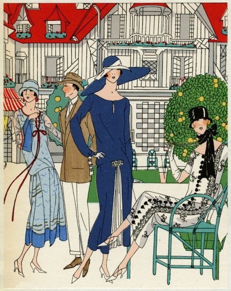 Three fashionable young ladies wearing outfits by Jeanne Lanvin. On the left, a two-tone blue dress in lace and crepe de chine, with stitching in silver and red. In the middle, a dark blue crepe de chine dress with white pleating at the front
