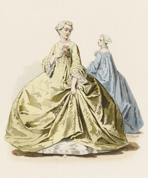 Ladies at the court of Louis XV, in the fashionable 'panier' dresses which required great skill on the wearer's part