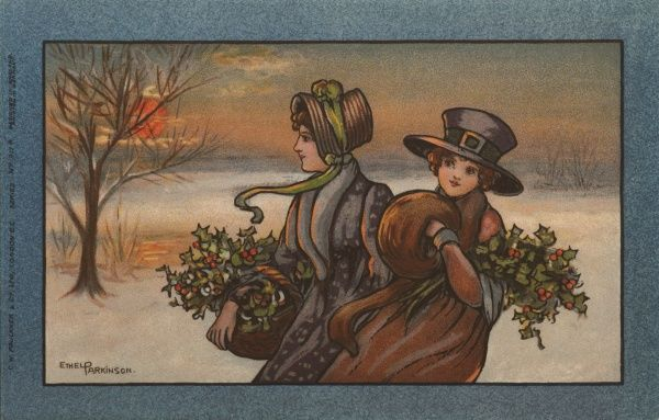 Two ladies, both of them carrying holly in their baskets, in a snowy landscape. They are dressed in 19th century style
