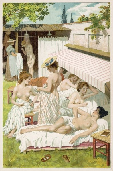 German ladies sunbathing for reasons of health : the Germans are pioneers in appreciating the health benefits of fresh air and sunlight