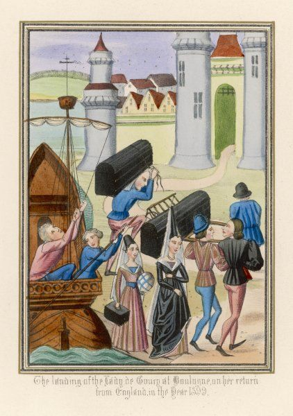 La Dame de Courcy, one of queen Isabella's attendant ladies, returns to France when king Richard II is deposed : she and her luggage are seen landing at Boulogne