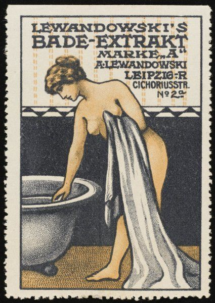 A lady is about to enter her bath, but before doing so she adds some of Lewandowski's bath extract